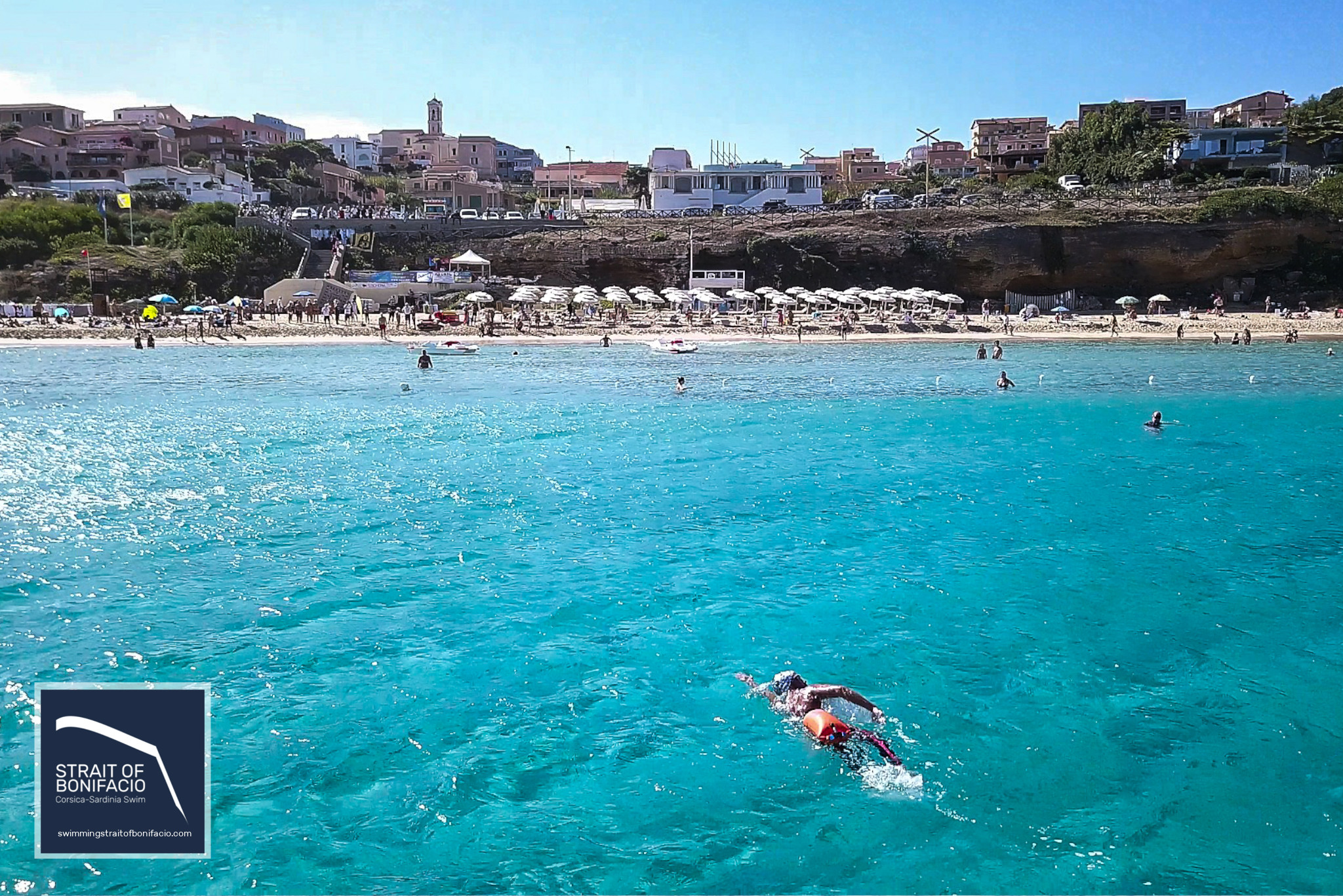 Private swim crossing in the Strait of Bonifacio