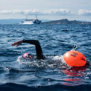 Private swim crossing in the Strait of Bonifacio